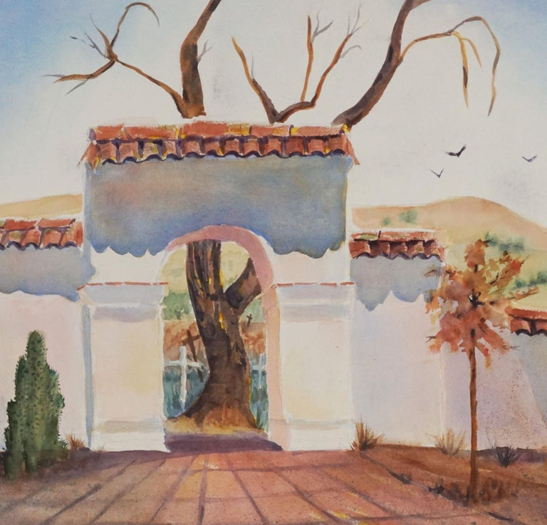 Santa Cruz Mission- Double Sided Watercolor By Lillie Heebner - Painting by Lillie E. Heebner