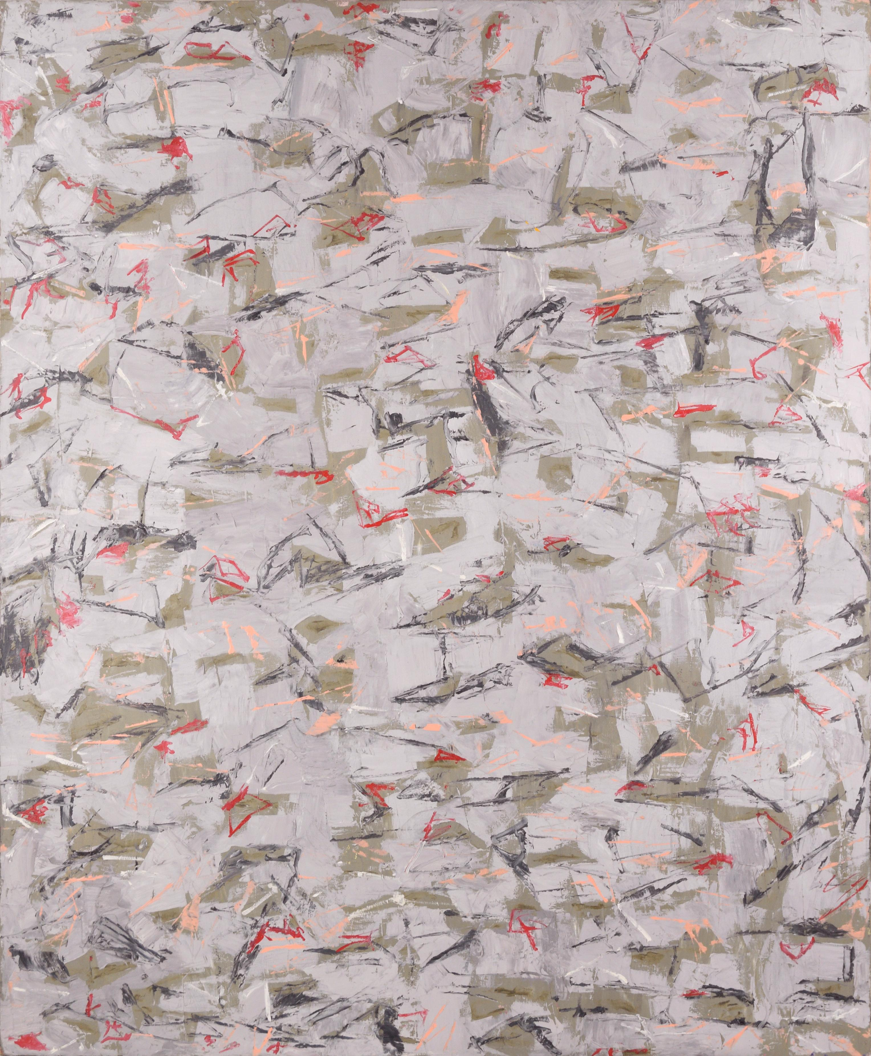 Gray and Green with Red Accents - Abstract Expressionist