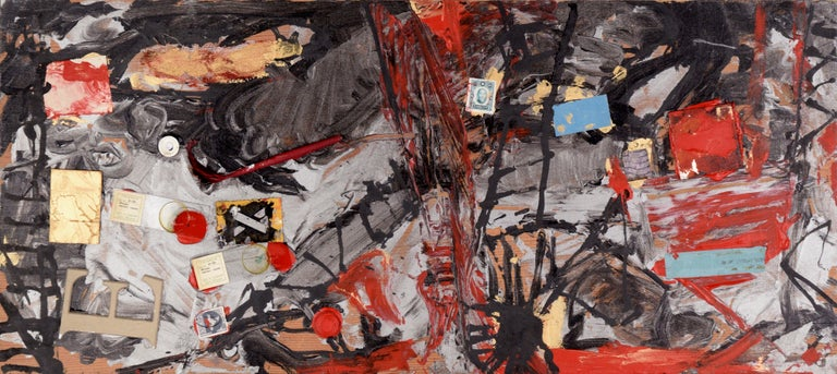Michael Pauker  Abstract Painting - Assemblage #2 (The Letter E, Glass Slides, and Stamps)
