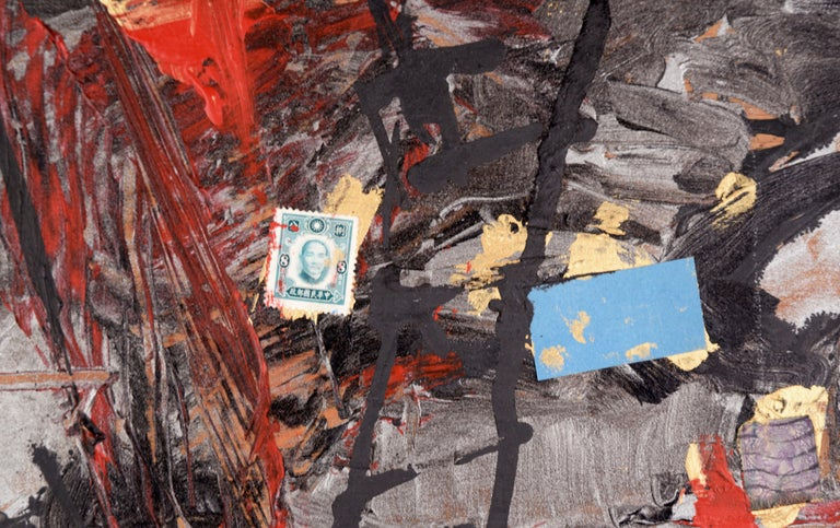 Assemblage #2 (The Letter E, Glass Slides, and Stamps) - Abstract Expressionist Painting by Michael Pauker