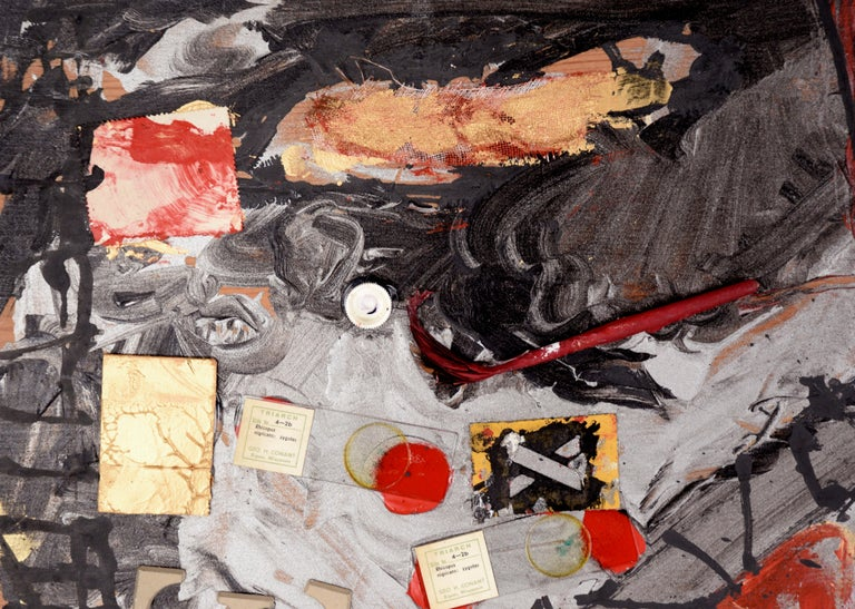 Assemblage #2 (The Letter E, Glass Slides, and Stamps) - Painting by Michael Pauker