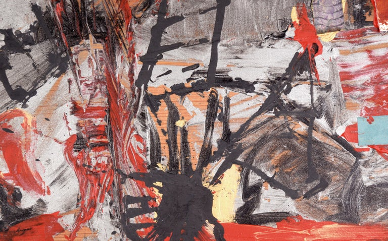 Abstract expressionist oil painting with assembled objects by Bay Area artist Michael Pauker (American, b. 1957). Unsigned, but was acquired with a collection of his work. Unframed. Image size: 11.25
