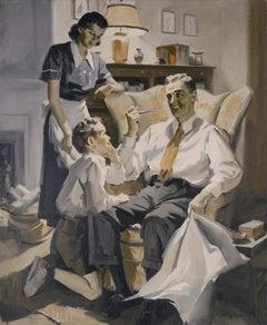 Happy Family - Mid Century Sepia Figurative Interior Scene Illustration Art