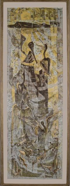 """Golden Haven"" - Mid Century Modern Dual Panel Vertical Serigraph"