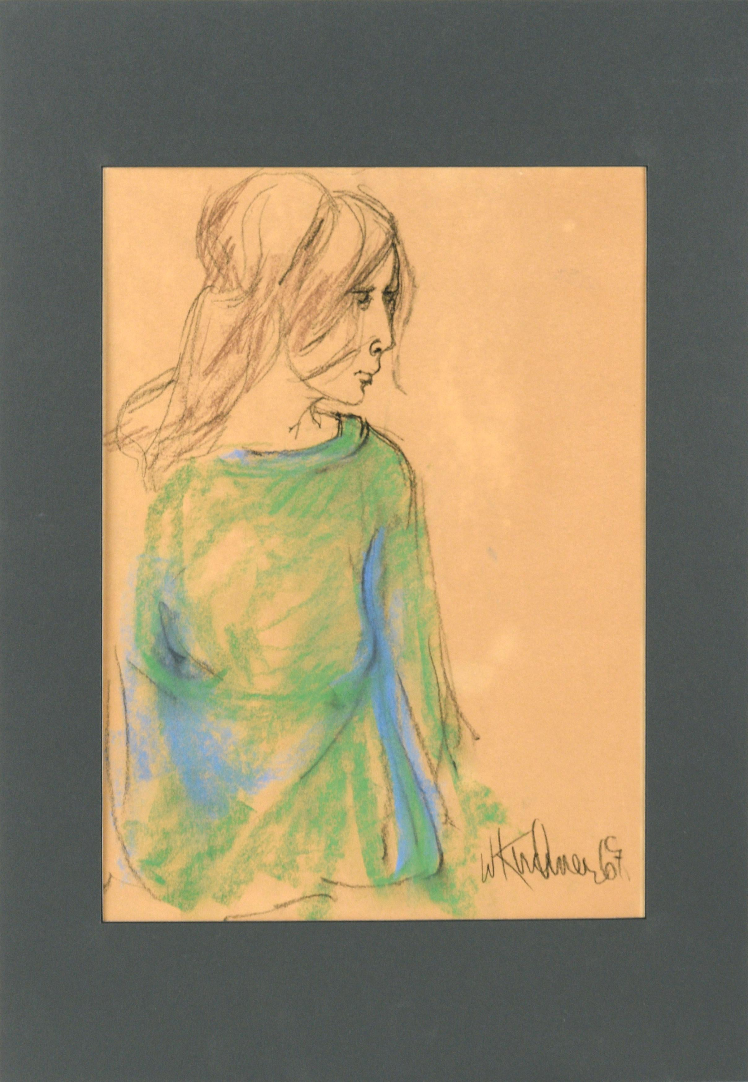 Portrait of a Woman in a Green Shirt - San Francisco Bay Area Figurative Movemen