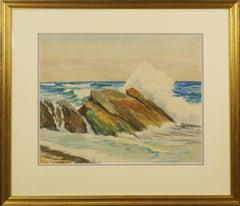 Mid Century Crashing Surf on Rocks Seascape