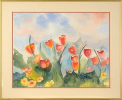 Red Tulips and California Poppies, Landscape