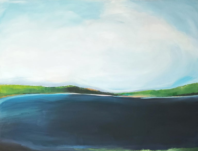 Standing at the edge and overlooking the entire lake, breathing and taking it all in. Wide gentle brushstrokes were used to make this water loving painting. Gallery wrapped canvas, ready to hang.  green, blue, white, orange, calm  About Alison