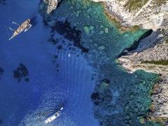 'Blue Dream', large contemporary Calypso Cave, Greece aerial photography