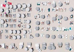 'Burners', South Beach, Miami Florida umbrella sunbathers aerial photography