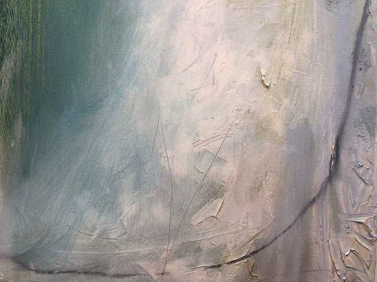 Silver Lining VII - Oil and large abstract canvas with teals & silver metallic For Sale 3