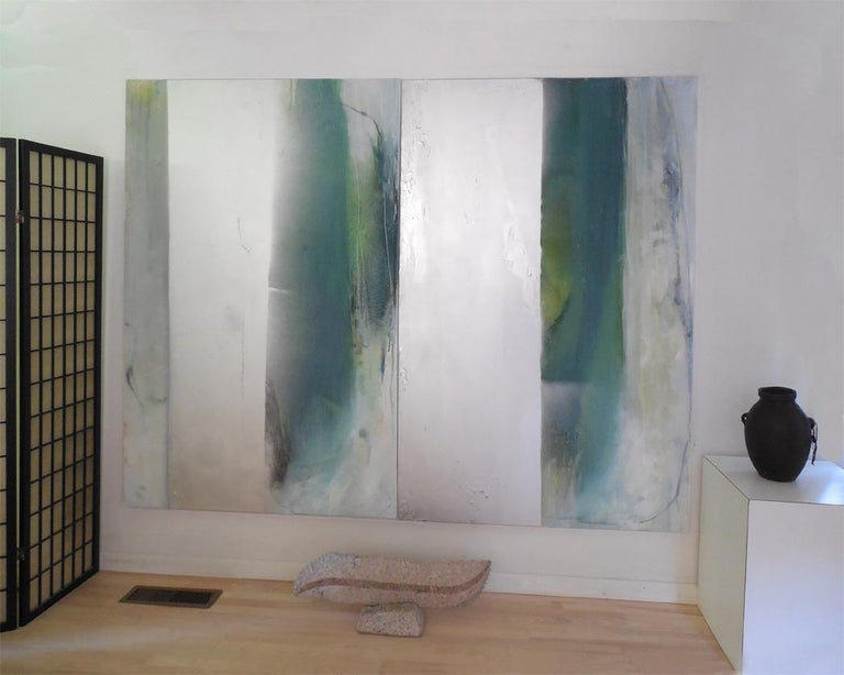 Silver Lining VII - Oil and large abstract canvas with teals & silver metallic For Sale 4