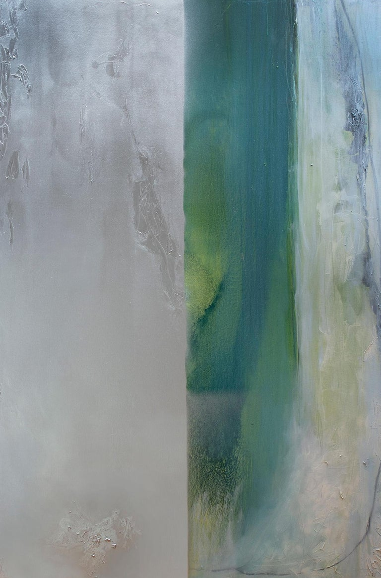 Karen Green Recor Abstract Painting - Silver Lining VII - Oil and large abstract canvas with teals & silver metallic