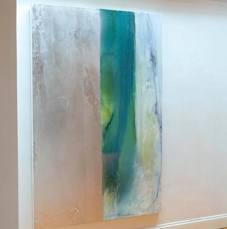 Silver Lining VII - Oil and large abstract canvas with teals & silver metallic - Painting by Karen Green Recor
