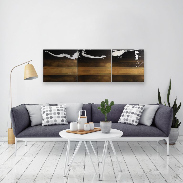 Elan I, II & III - Abstract Painting by Karen Green Recor