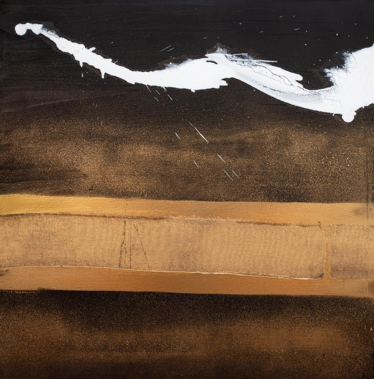 Elan I, II & III - Gray Abstract Painting by Karen Green Recor