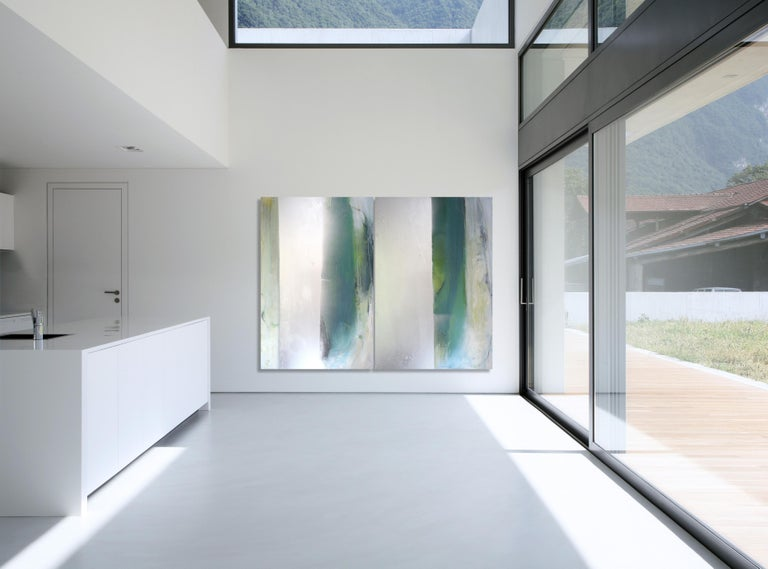 Karen Green Recor Abstract Painting - Silver Lining  - large abstract diptych with teals & silver metallic