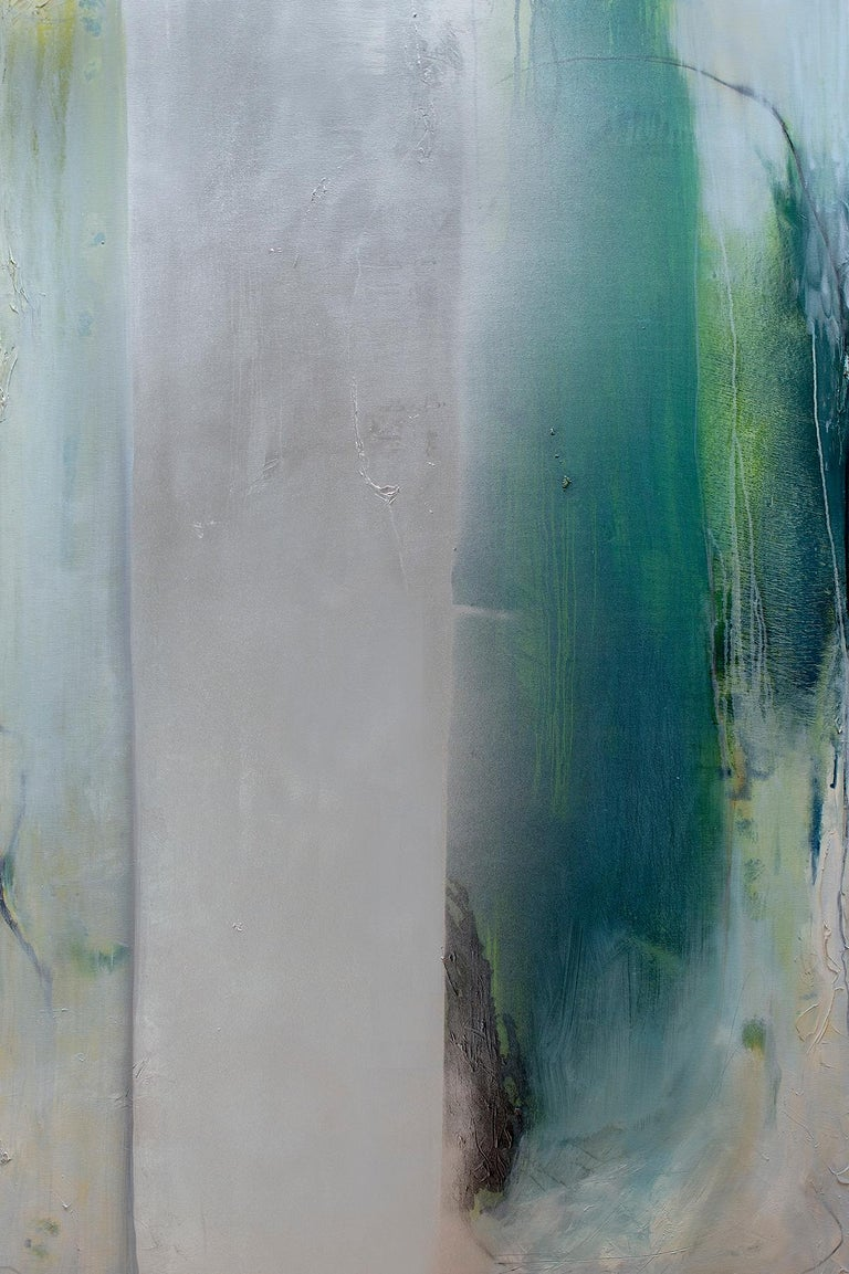 Silver Lining  - large abstract diptych with teals & silver metallic - Painting by Karen Green Recor