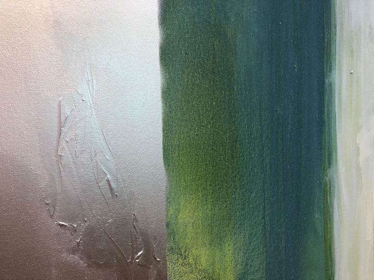 Silver Lining  - large abstract diptych with teals & silver metallic For Sale 1