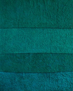 'Shades of Teal', Handmade paper with pigment on canvas