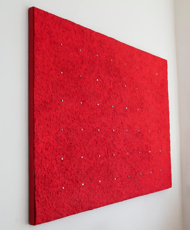 'Kind of Red', Handmade paper with pigment and nails on canvas - Minimalist Mixed Media Art by Ellie Winberg