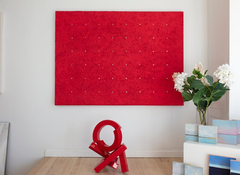 Handmade paper with nails and pigment adhered to canvas. Ready to hang.  Ellie Winberg pushes the boundary of handmade papermaking to create rich, textural artwork that follows a minimalist aesthetic. She explores the range of possibilities that