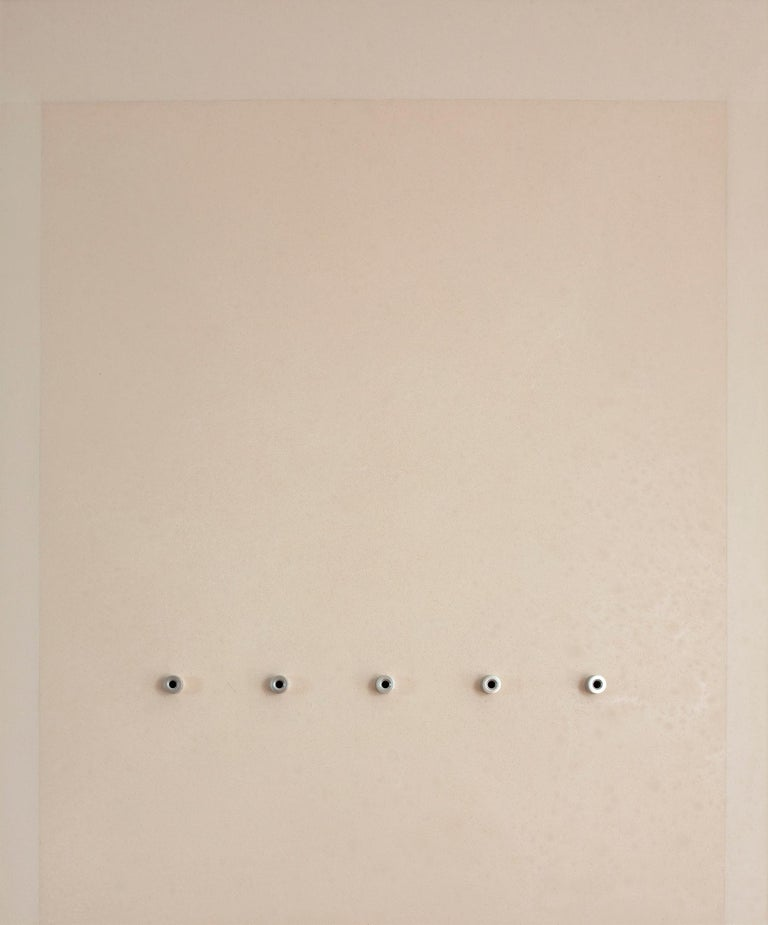 'Five Rings', Mixed Media with Resin and Metal Rings on wood panel  - Mixed Media Art by Mauricio Morillas