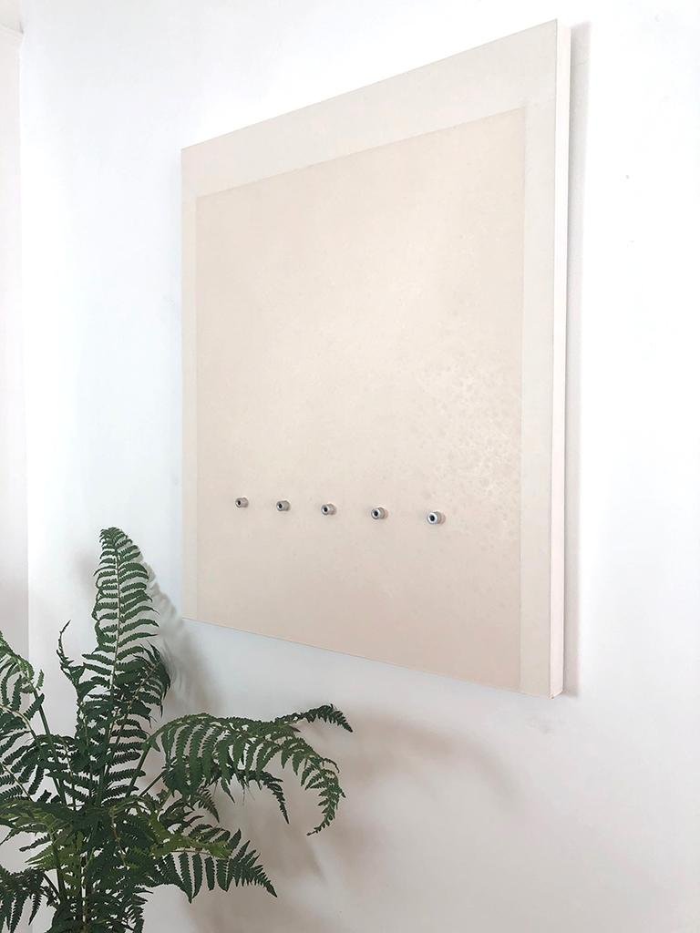 'Five Rings', Mixed Media with Resin and Metal Rings on wood panel  - Minimalist Mixed Media Art by Mauricio Morillas