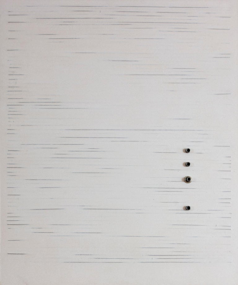 'Parallel Lines', Mixed Media with Wire, Metal Rings and Resin on wood panel  - Mixed Media Art by Mauricio Morillas