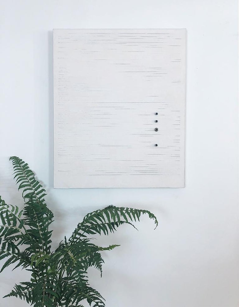 'Parallel Lines', Mixed Media with Wire, Metal Rings and Resin on wood panel  - Minimalist Mixed Media Art by Mauricio Morillas