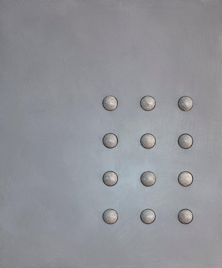 'Twelve Moons', Mixed Media with Resin and Sculpted Spheres on wood panel  - Mixed Media Art by Mauricio Morillas