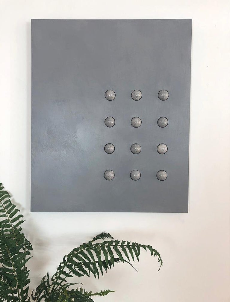 'Twelve Moons', Mixed Media with Resin and Sculpted Spheres on wood panel  - Minimalist Mixed Media Art by Mauricio Morillas