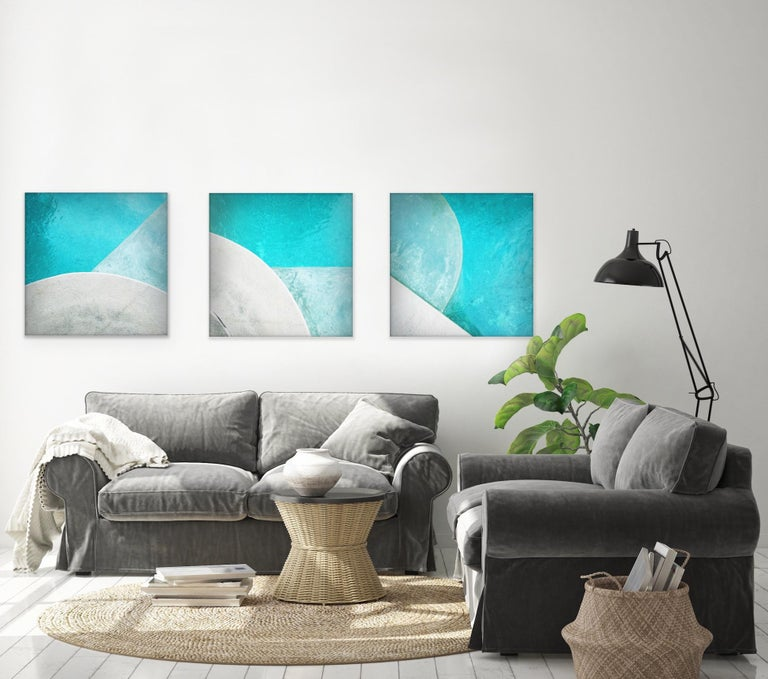 'Pool Step Series II' Contemporary Photography - 40x40 - Blue Color Photograph by Peter Mendelson