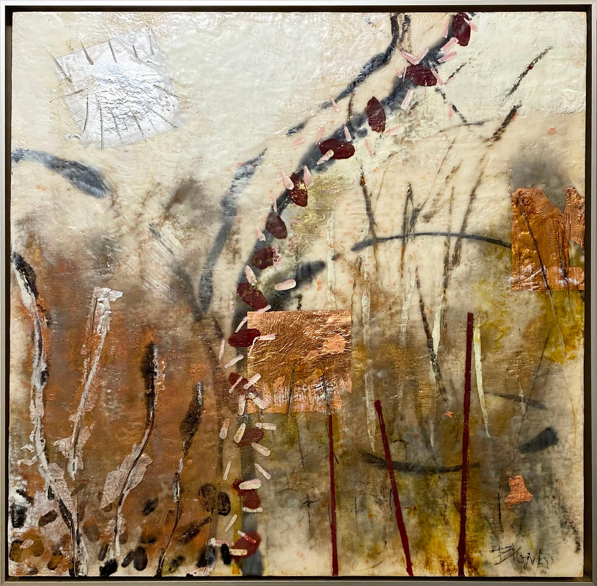 """Burnished Trees,"" Abstract Encaustic Painting"