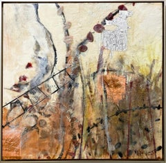 """Honey Bee Garden,"" Abstract Encaustic Painting"