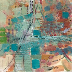 """Copper Pier,"" Abstract Encaustic Painting"