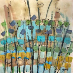 """Cryptic Garden,"" Abstract Encaustic Painting"