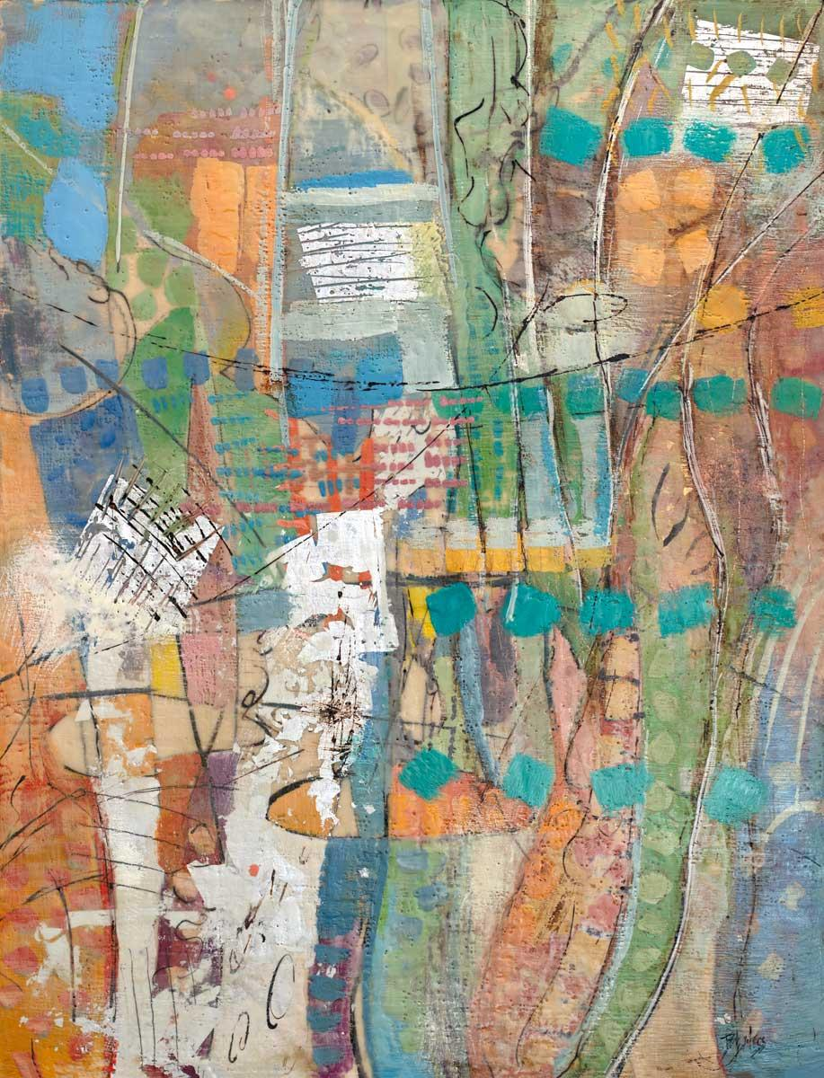 """Manhattan Revisited,"" Abstract Encaustic Painting"