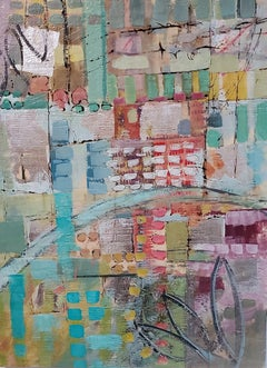 """Broadway Revisited,"" Abstract Encaustic Painting"