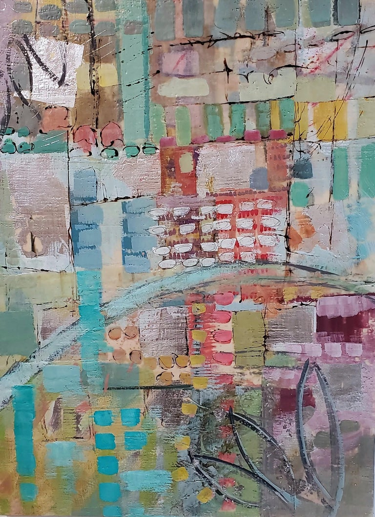 "Linda Bigness Abstract Painting - ""Broadway Revisited,"" Abstract Encaustic Painting"