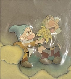 Walt Disney Production Cels Courvoisier Background Snow White & the Seven Dwarfs