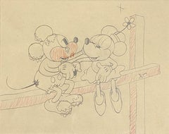 Walt Disney Production Drawing from Touchdown Mickey (1932) featuring Mickey Mou