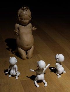 LET THEM EAT CAKE I - contemporary nude ceramic sculpture made of stoneware