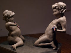 DO YOU HAVE WHAT I WANT? DO YOU WANT WHAT I HAVE? - gray ceramic nude sculpture