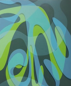 DELUGE - abstract blue and green painting
