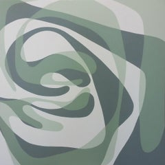 GREEN EDDY - abstract green, grey and white painting