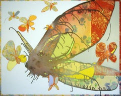 MATRIARCH III -abstract floral painting of butterfly with fabric