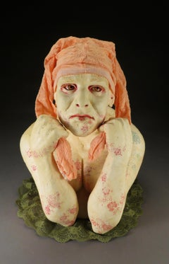 BEING THE BUFFOON - ceramic sculpture of woman