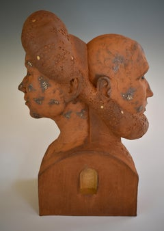 WE'RE (ALWAYS) IN THIS TOGETHER - surreal ceramic sculpture of man and woman