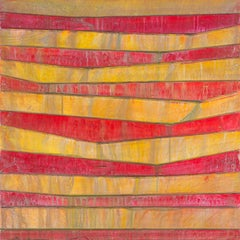 COTORRO - red and orange horizontal linear abstract painting